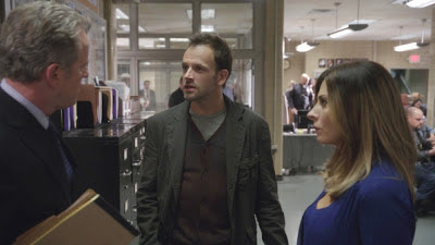 Aidan Quinn, Jonny Lee Miller and Callie Thorne in CBS Elementary Episode # 7 One Way To Get Off