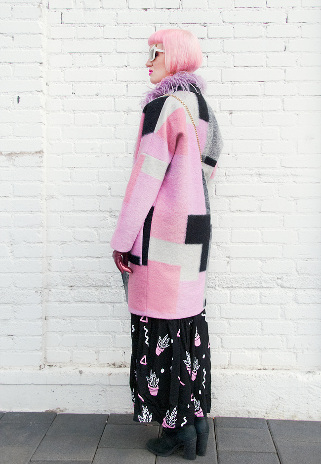 karen by simonsen, wool coat, pink look