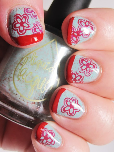 red tip and stamp with Sally Hansen Sacred Scarlet and Pueen 19