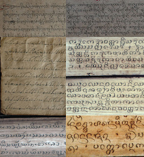 Examples of different scripts used in Lao palm leaf manuscripts