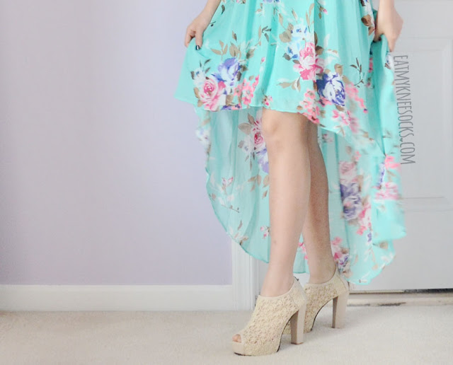 A semi-formal look featuring Ever-pretty's high-low hem beaded strapless floral chiffon dress, worn with beige lace Shop Chiki heels and a rhinestone embellished Forever 21 necklace.