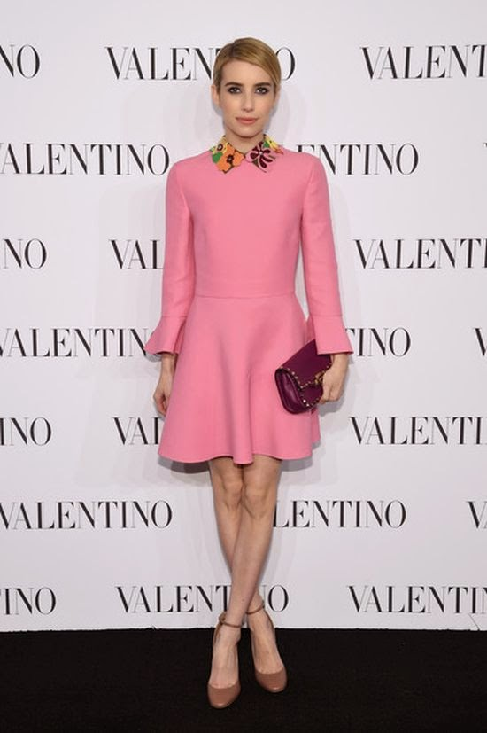 Emma Roberts looked very beauty in a pink dress as she headed the Valentino Sala Bianca 945 event on Wednesday, December 10, 2014.