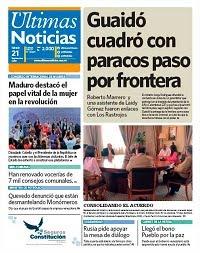PRIMERA PAGINA DE ULTIMAS NOTICIAS DE VENEZUELA