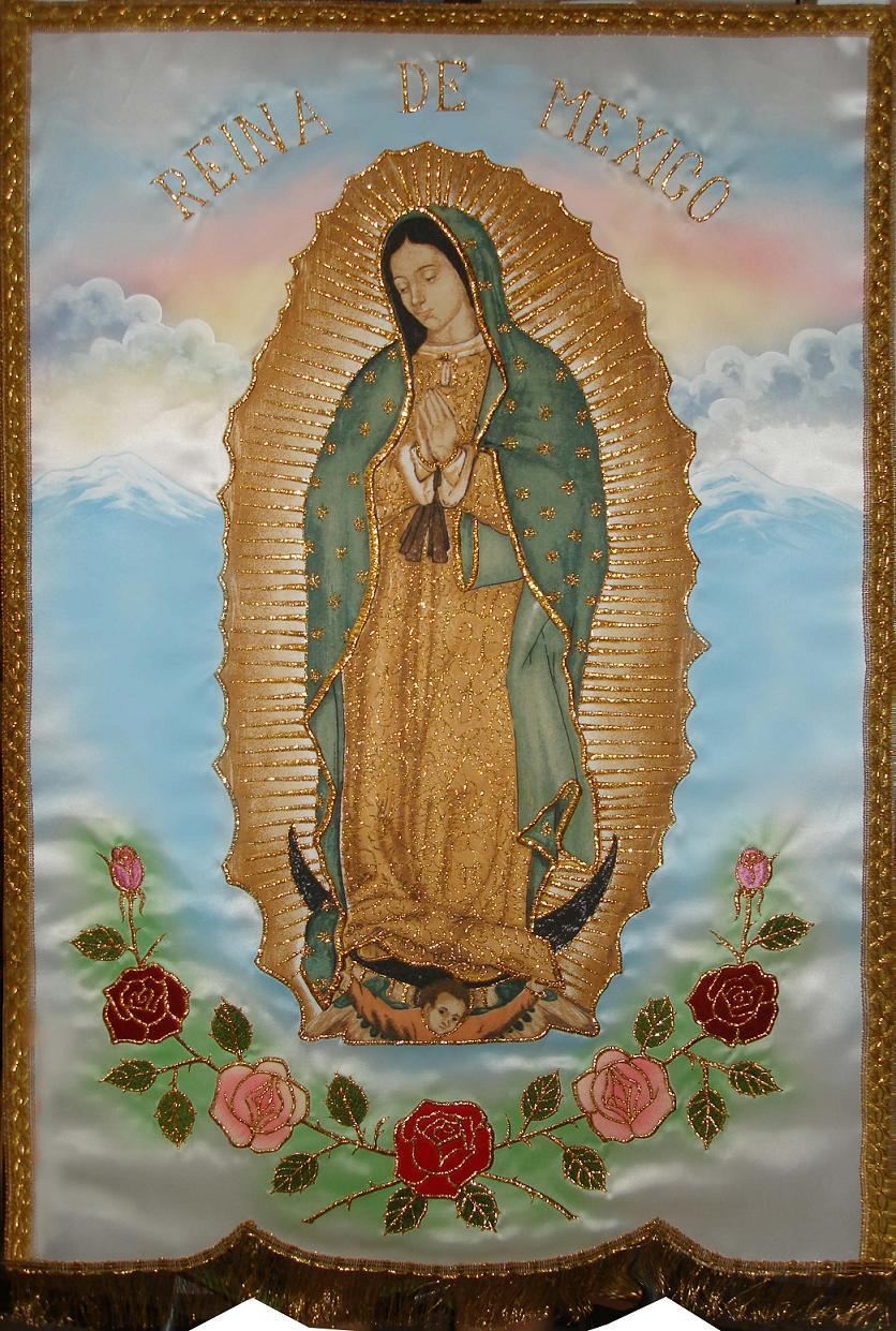 Estandartes de la Virgen de Guadalupe.