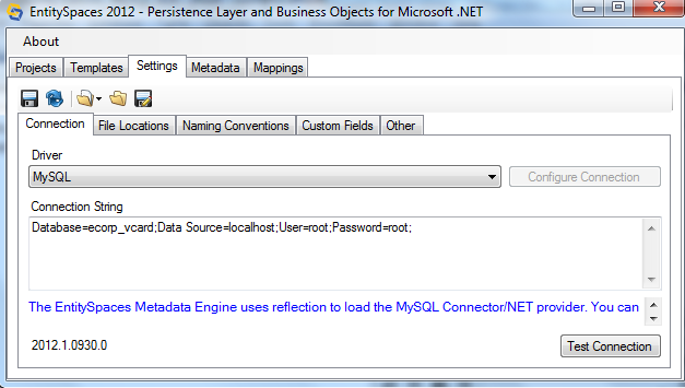 Microsoft EntitySpaces Connection String