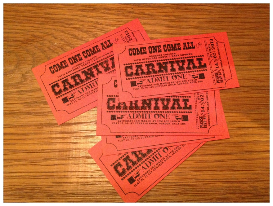 Carnival Wedding: DIY Invitation Tickets