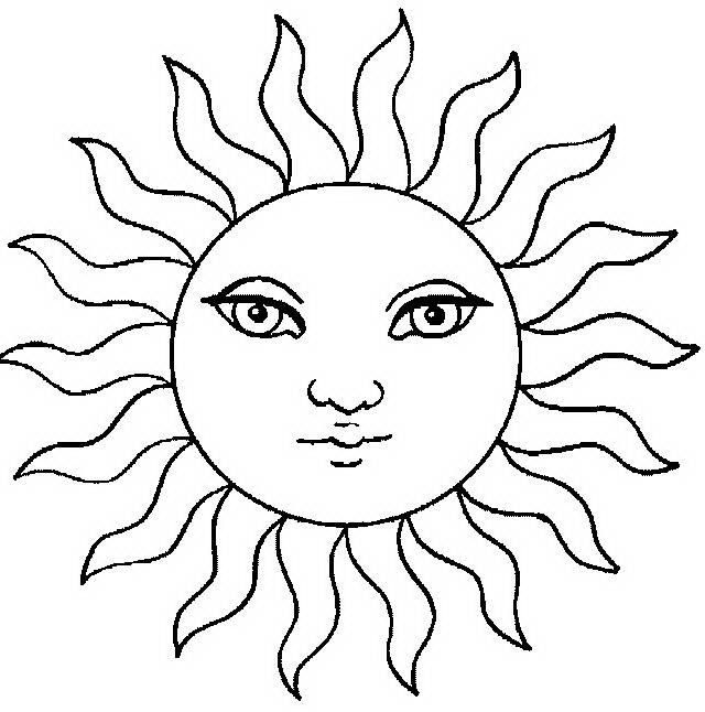 Раскраска солнце - 4eb