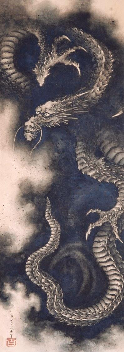 Katsushika Hokusai (1760 -1849) Dragon dans les nuées Ryū Zu Ère Kaei, an II (1849) Kakémono, shihon 102,5 × 42,5 cm Signature : Kyūjū Rōjin Manji hitsu Sceau : hyaku Paris, Musée national des arts asiatiques-Guimet © Musée Guimet, Paris, dist. Rmn-Grand Palais / Thierry Ollivier