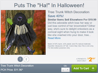 Tree Trunk Witch Decoration from Publishers Clearing House