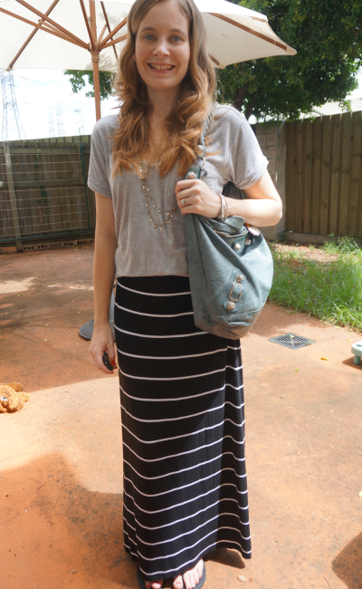 Blue And White Striped Maxi Skirt Outfit Jill Dress