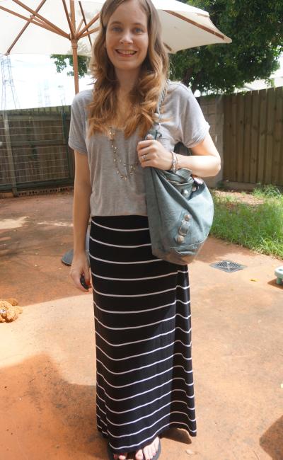 Grey tee stripe maxi skirt Balenciaga hobo bag slouchy comfy casual SAHM outfit