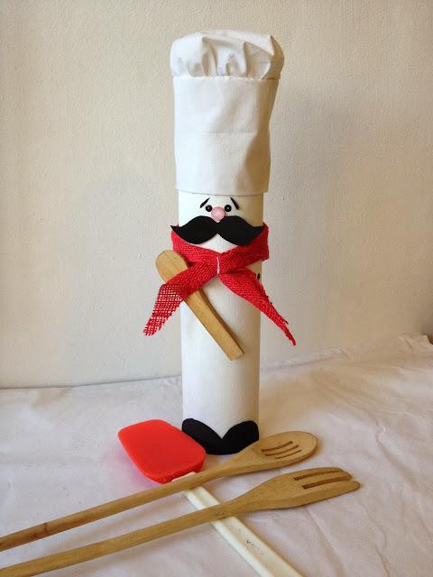 Ideashot chef porta cucharas de cart n y manta for Porta cucharas cocina