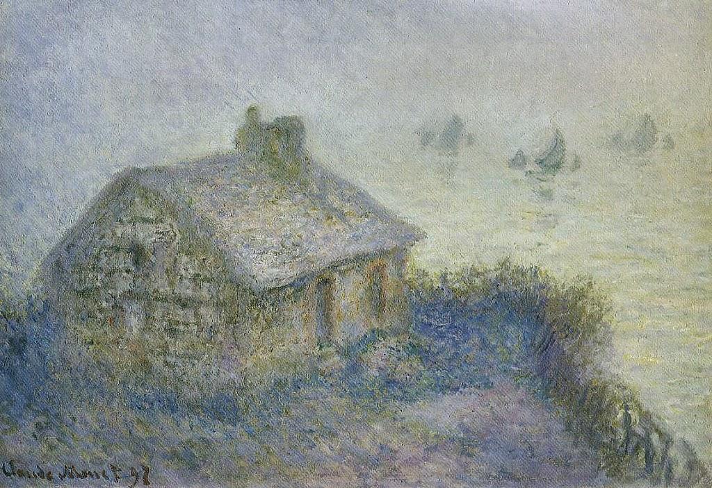 Poste de douaniers par brouillard, effet bleu (1897)