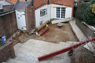 Building site for kitchen extension: demolition