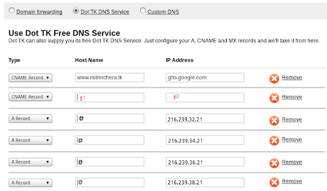 Configuracion registros dns para blogger