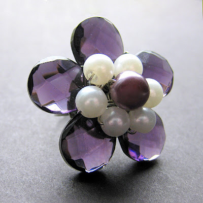 Purple Crystal Flower Ring with Pearls