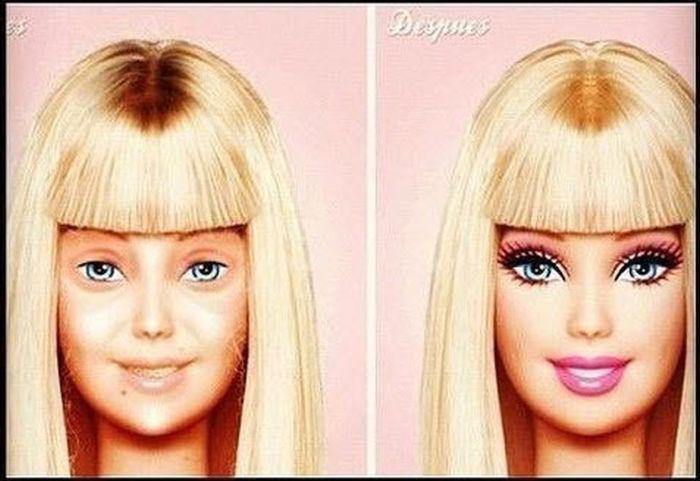 Barbie Sem E Com Maquilhagem
