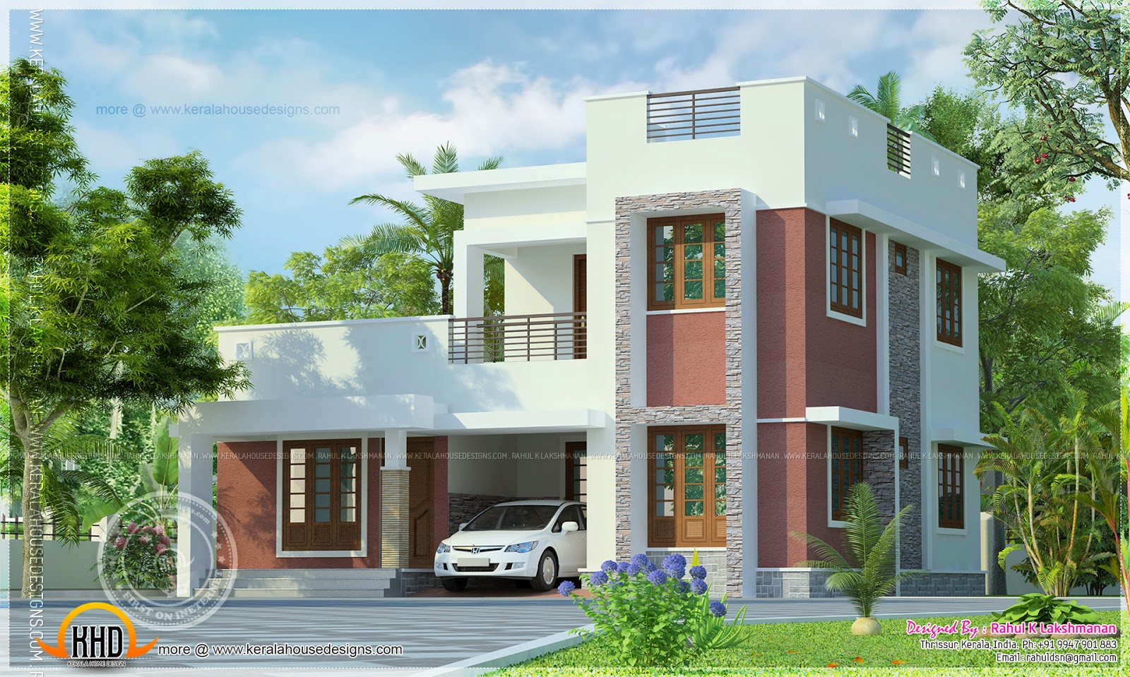 Simple flat roof house exterior kerala home design and for Flat roof home plans