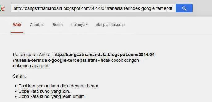 Rahasia Terindek google Tercepat
