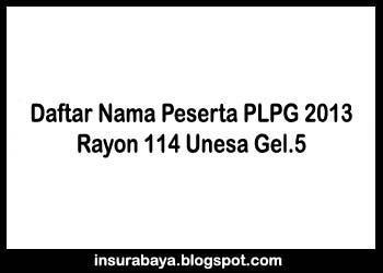 Daftar Nama Peserta PLPG 2013 Gelombang 5 Rayon 114 Unesa Surabaya