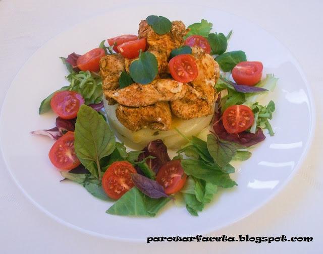pierś z kurczaka z ziemniakami i mixem sałat , pyszny obiad z parowaru