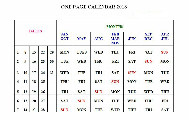 2018 one page calendar