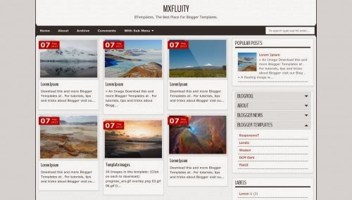 mxfluity black white combination gallery template 2014 for blogger or blogspot