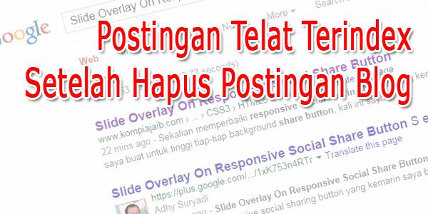 Postingan Telat Terindex Setelah Hapus Postingan Blog