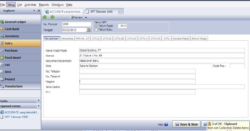 accurate software cara untuk membuat spt tahunan