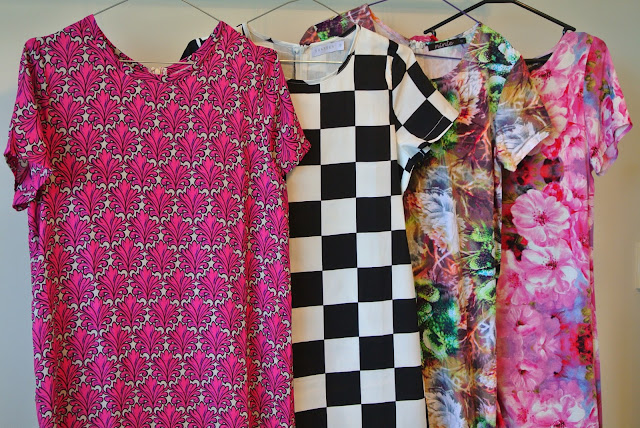 Checkerboard and floral printed shift dresses