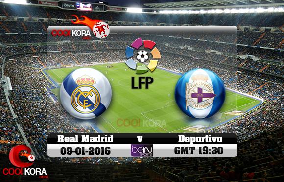 مشاهدة مباراة ريال مدريد وديبورتيفو لاكورونيا اليوم 9-1-2016 في الدوري الأسباني