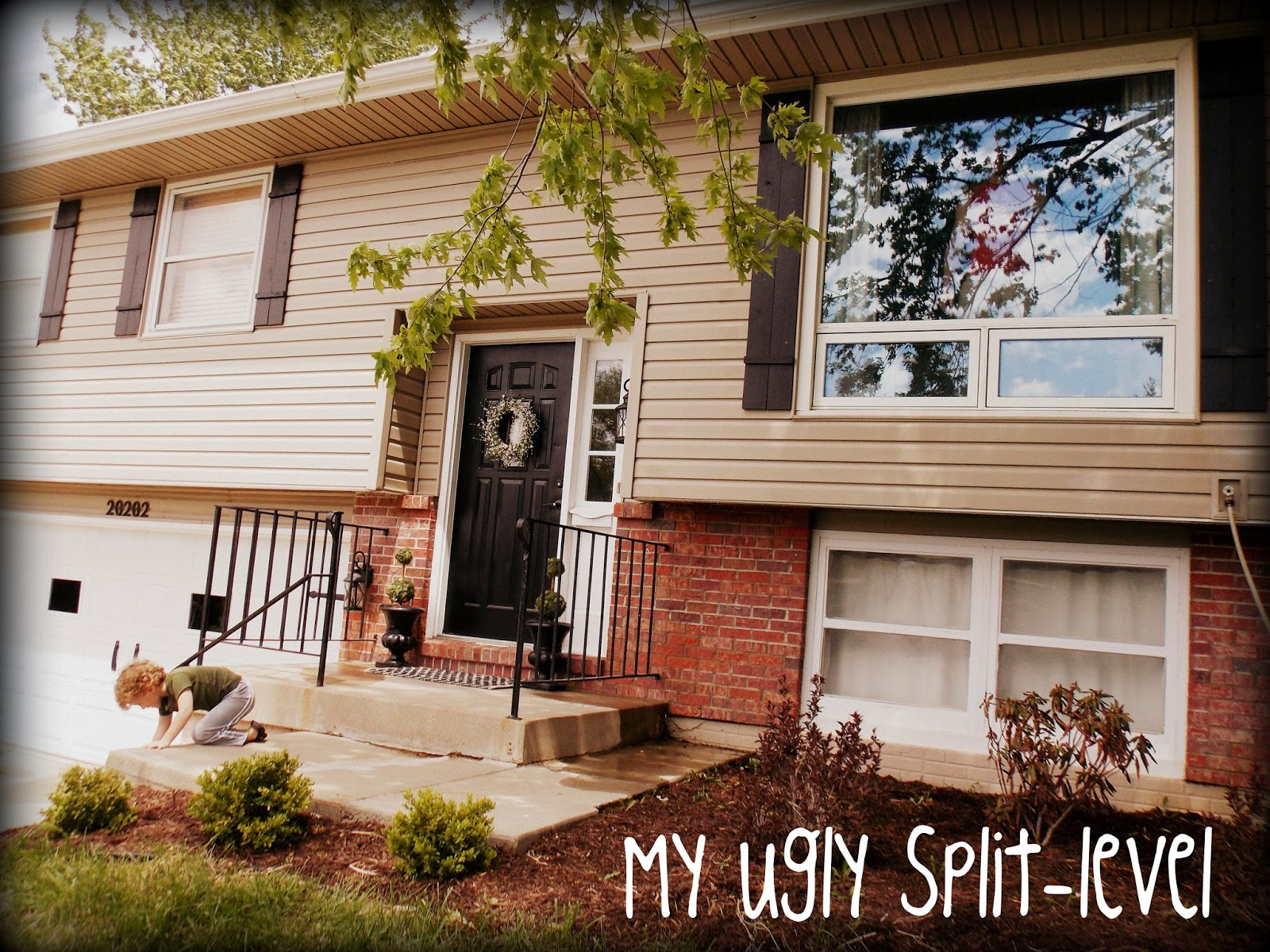 My ugly split level diy shutters for Split level home remodel