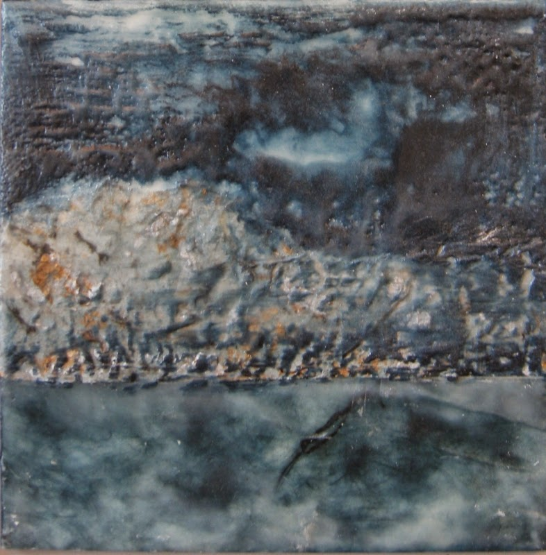 mixed media encaustic, moonlight on hills water, landscape