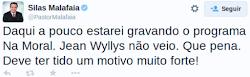 Silas Malafaia diz que Jean willis fugiu com medo de debate