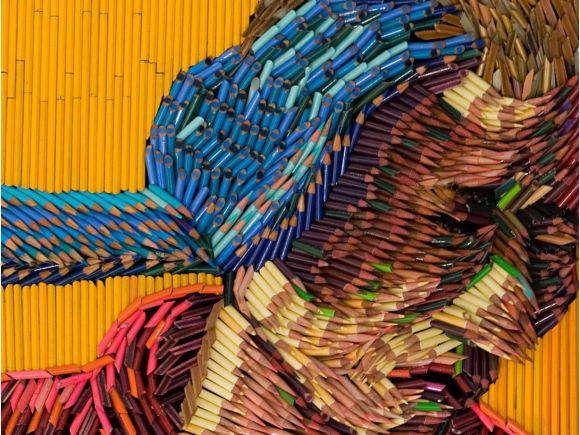 Federico Uribe pinturas feitas com lápis Tentando ajudar - detalhe