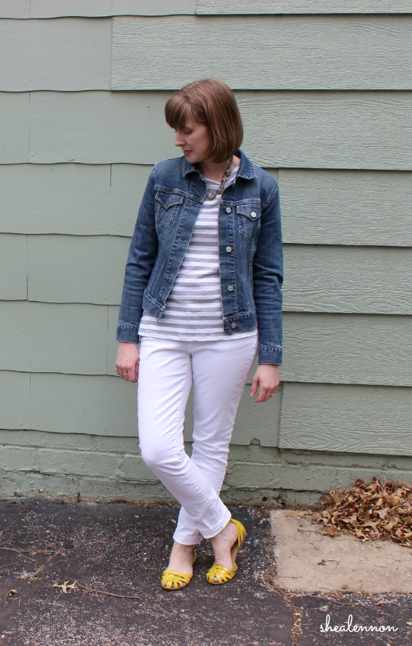 Spring casual look with denim jacket and white jeans | www.shealennon.com
