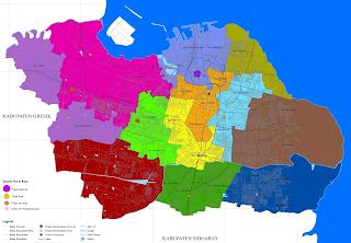 Pembagian Wilayah Surabaya, Peta Pembagian Wilayah Surabaya, Pembagian Kecamatan Wilayah Surabaya