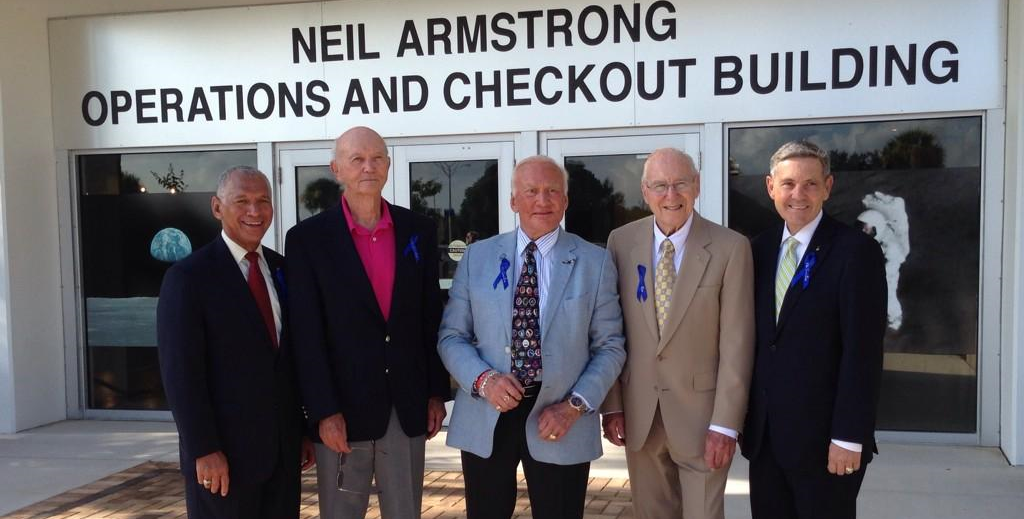 On July 21, 2014, NASA renamed the Operations & Checkout Building at the Kennedy Space Center, Florida in honor of Neil Armstrong, the first man to walk on the moon. From left to right: NASA administrator Charles Bolden, astronauts Mike Collins, Buzz Aldrin, Jim Lovell and KSC director Bob Cabana. Credit: NASA