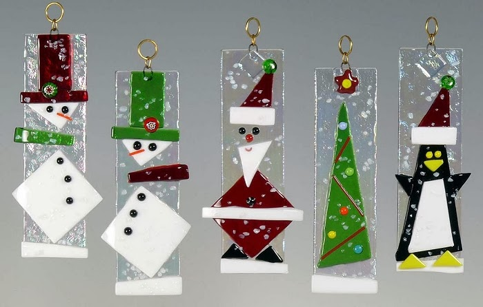 5 ornaments of fused glass 5 tall x 2 wide made in north carolina by back porch glass chimes