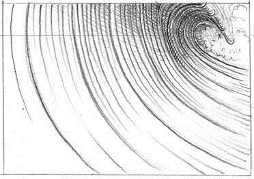 how to draw a tsunami wave step by step