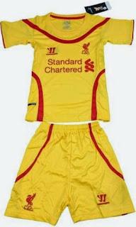 jual baju bola anak, jersey anak liverpool away, liverpool warna kuning, musim 2014/2015