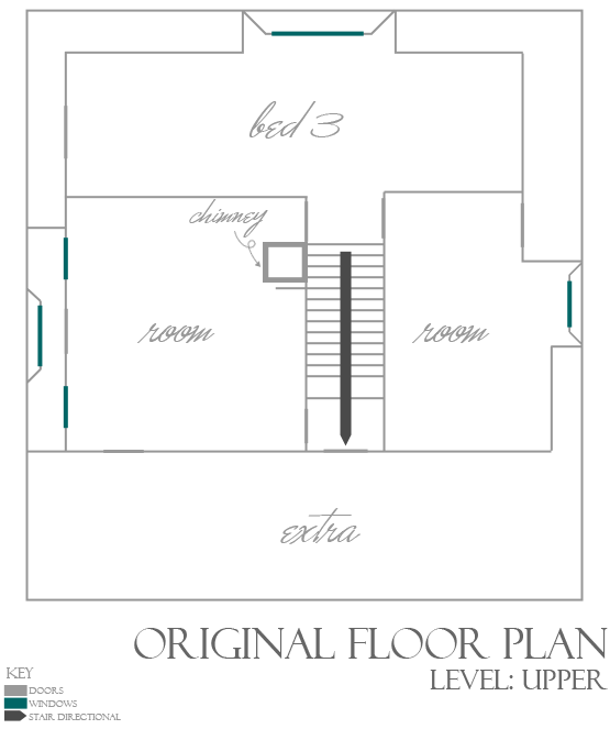 Black and white obsession our home original floor plan for Basement floor plans with stairs in middle