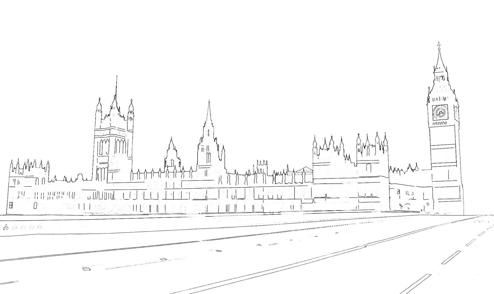 sketch or pencil drawing of Westminster Palace and Big Ben which is