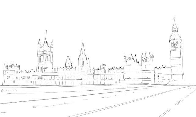 westminster palace or british parliament sketch