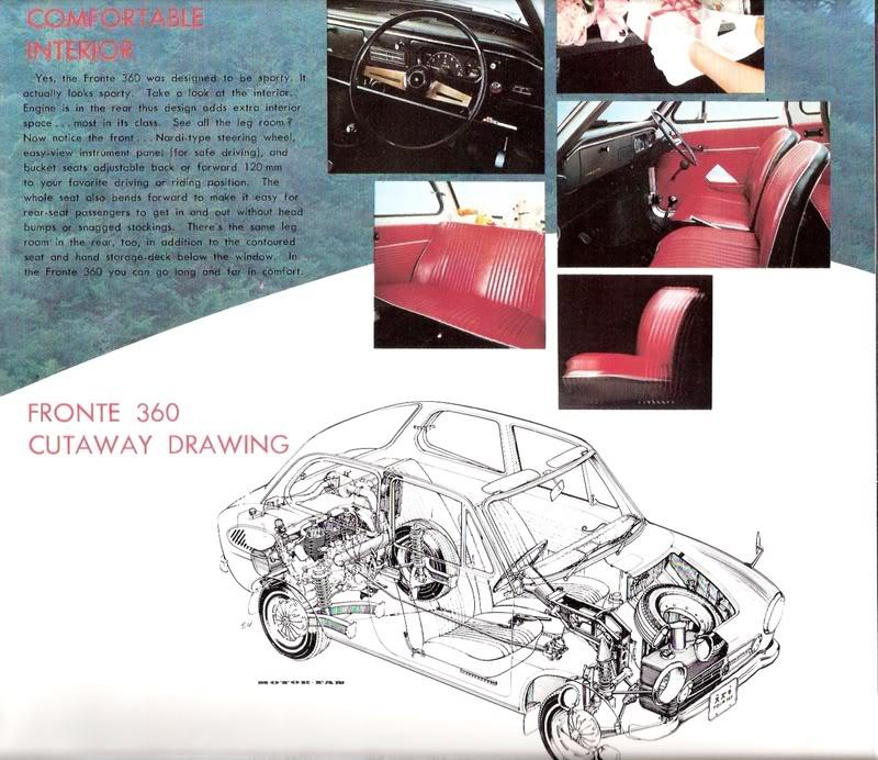 suzuki fronte 360, wnętrze, przekrój, stare samochody