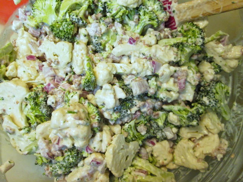 Mixing in blue cheese dressing