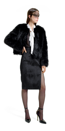 Altuzarra For Target Collection: Faux fur jacket, pencil skirt, black jacquard, bow blouse, ankle strap shoe, fashion, designer, style, the purple,scarf, melanie.ps, toronto, ontario, canada