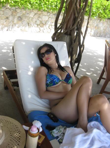 busty asian in blue bikini