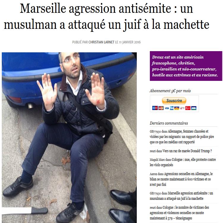 Ce matin à Marseille, un jeune arabe antisémite de 16 ans s'est approché d'un juif religieux avec une machette et a tenté de lui trancher la gorge