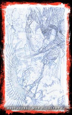 Dibujo o líneas realizado por ªRU-MOR para la ilustración principial de portada de ÉPICA: Edades Oscuras. Juego de cartas y rol de fantasía épica y medieval